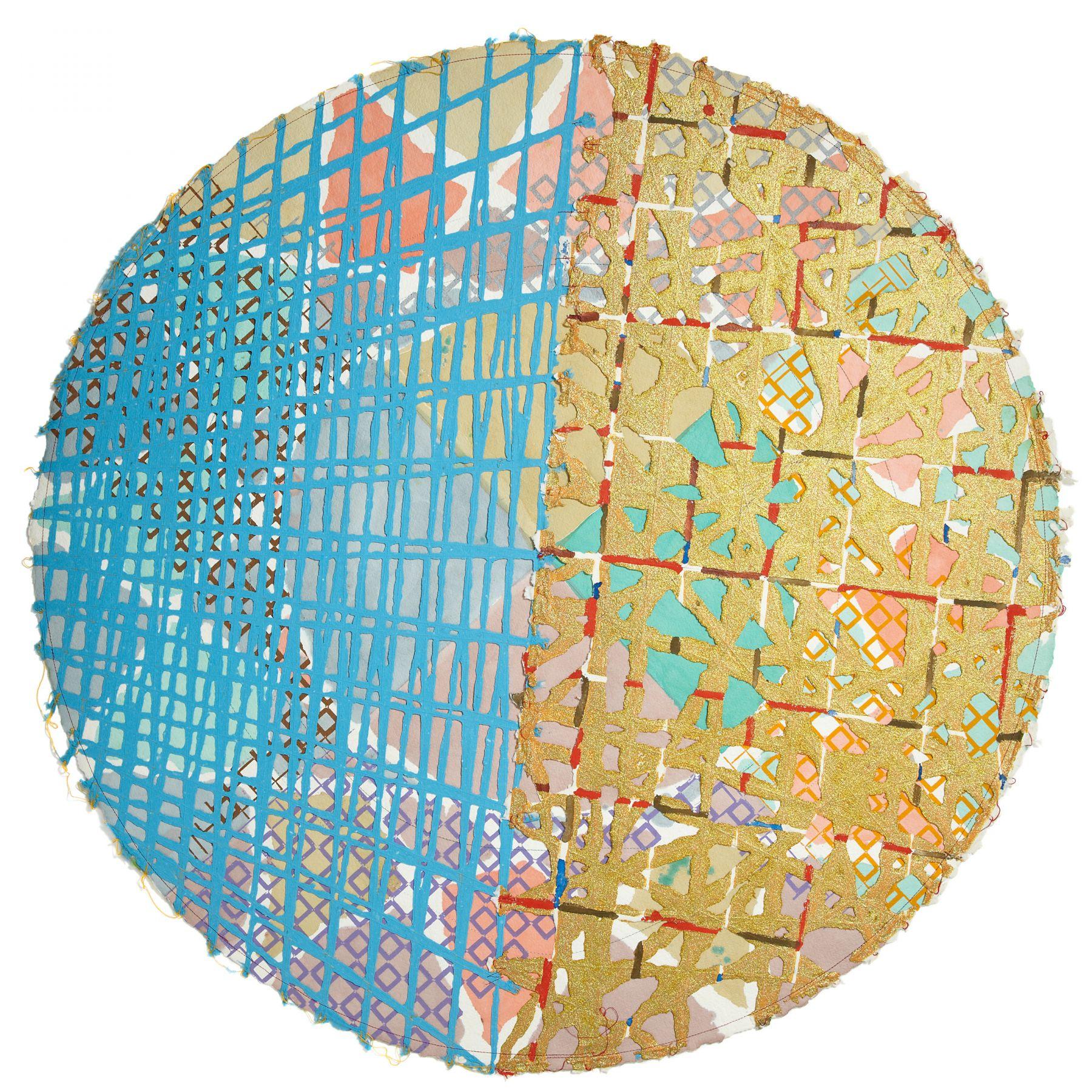 K.E.C., 1985-86, Watercolor, block printing, glitter, stitching on handmade paper, 46 1/4 inches (117.5 cm) diameter