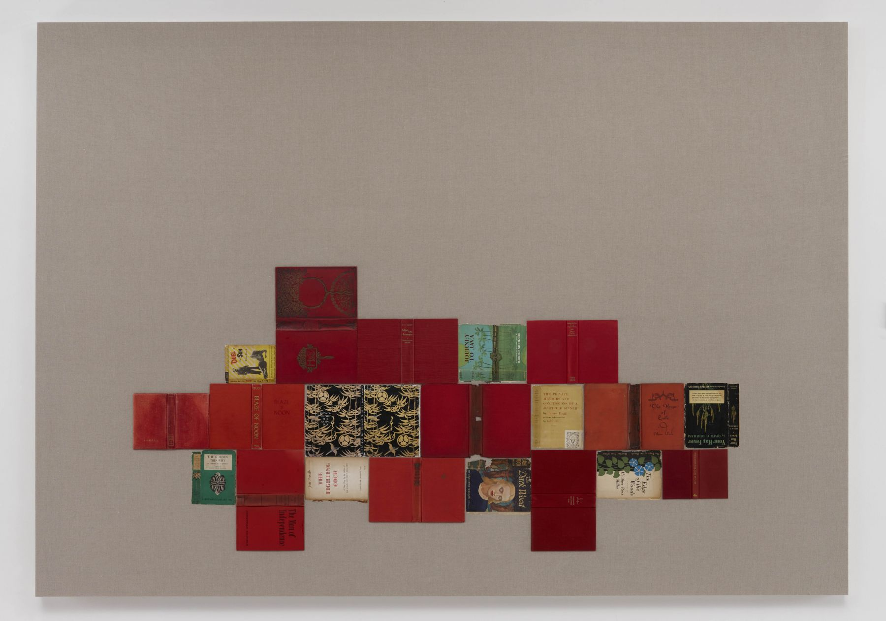 Valeska SoaresThe House of Exile (from Bindings)2011Antique paper jackets and hardcover books on linen72 x 102 inches (182.9 x 259.1 cm)VS 35