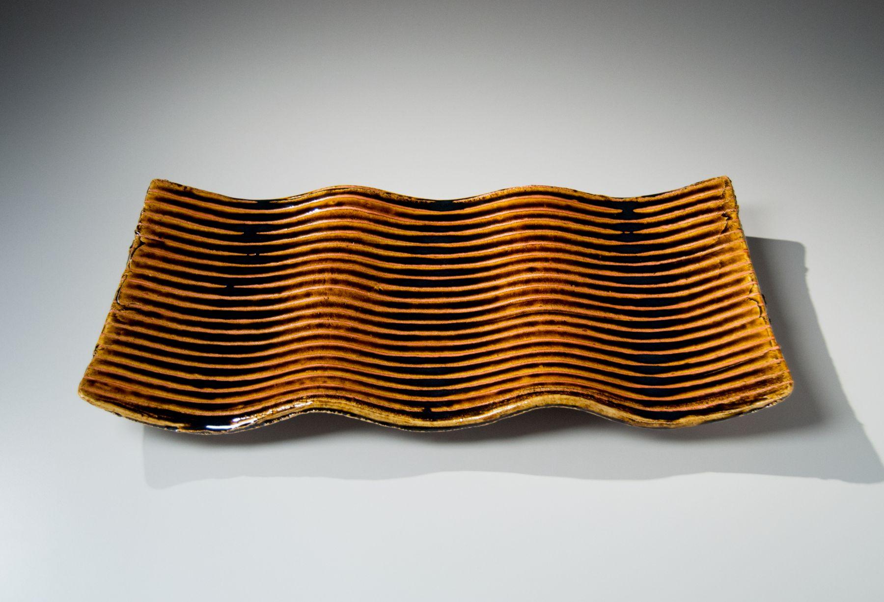 Suzuki, Tetsu, undulating, rectangular, platter, carved, horizontal, linear, stripes, pooling, brown, red, iron, glaze, stoneware, clay, ceramics, pottery, foot, contemporary, japan, japanese, art, mirviss, gallery