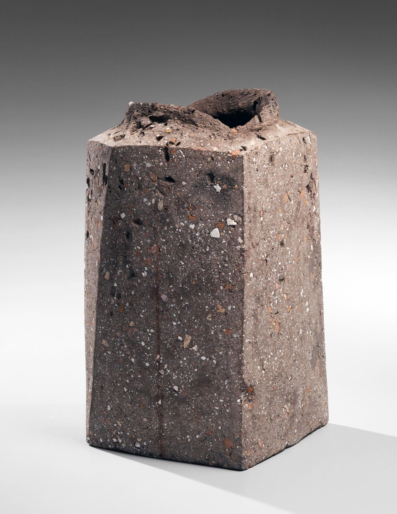 Ito, Sekisui, Ito Sekisui, standing, four-sided, faceted, vessel, grey, rough, raised, torn, mouth, imbedded, stone, brush, applied, iron, oxide, clay, slip, 2012, living national treasure, LNT, Japan, Japanese, Japanese art, contemporary, ceramics, contemporary ceramics, contemporary Japanese ceramics, art, new york, new york city, gallery, for sale, pottery