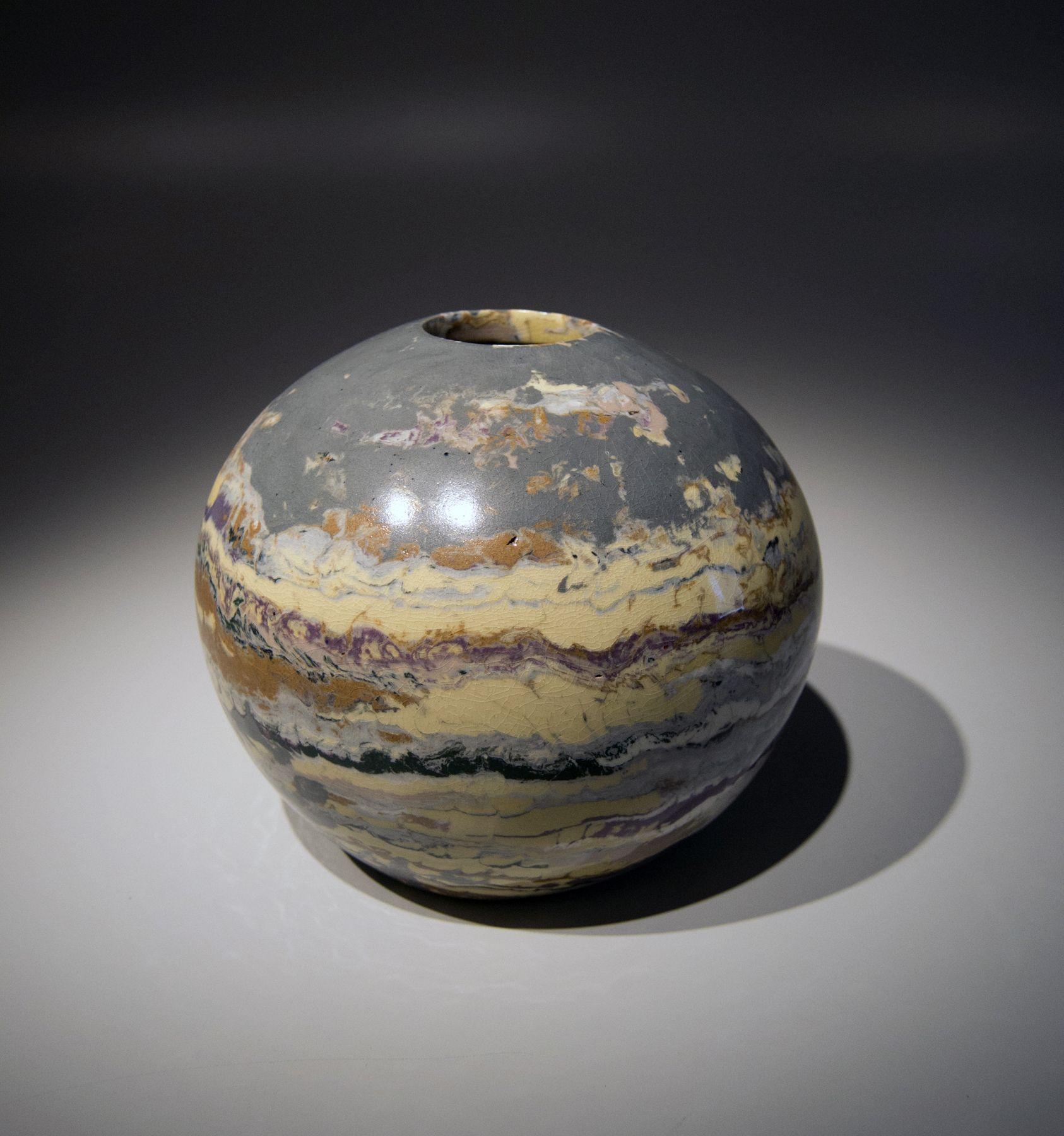 Matsui Kōsei (1927-2003), Small sphericalneriage (marbleized) vessel
