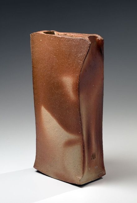 Isezaki Jun (b. 1936), Large rectangular bizen vessel with extended, pinched upper edges