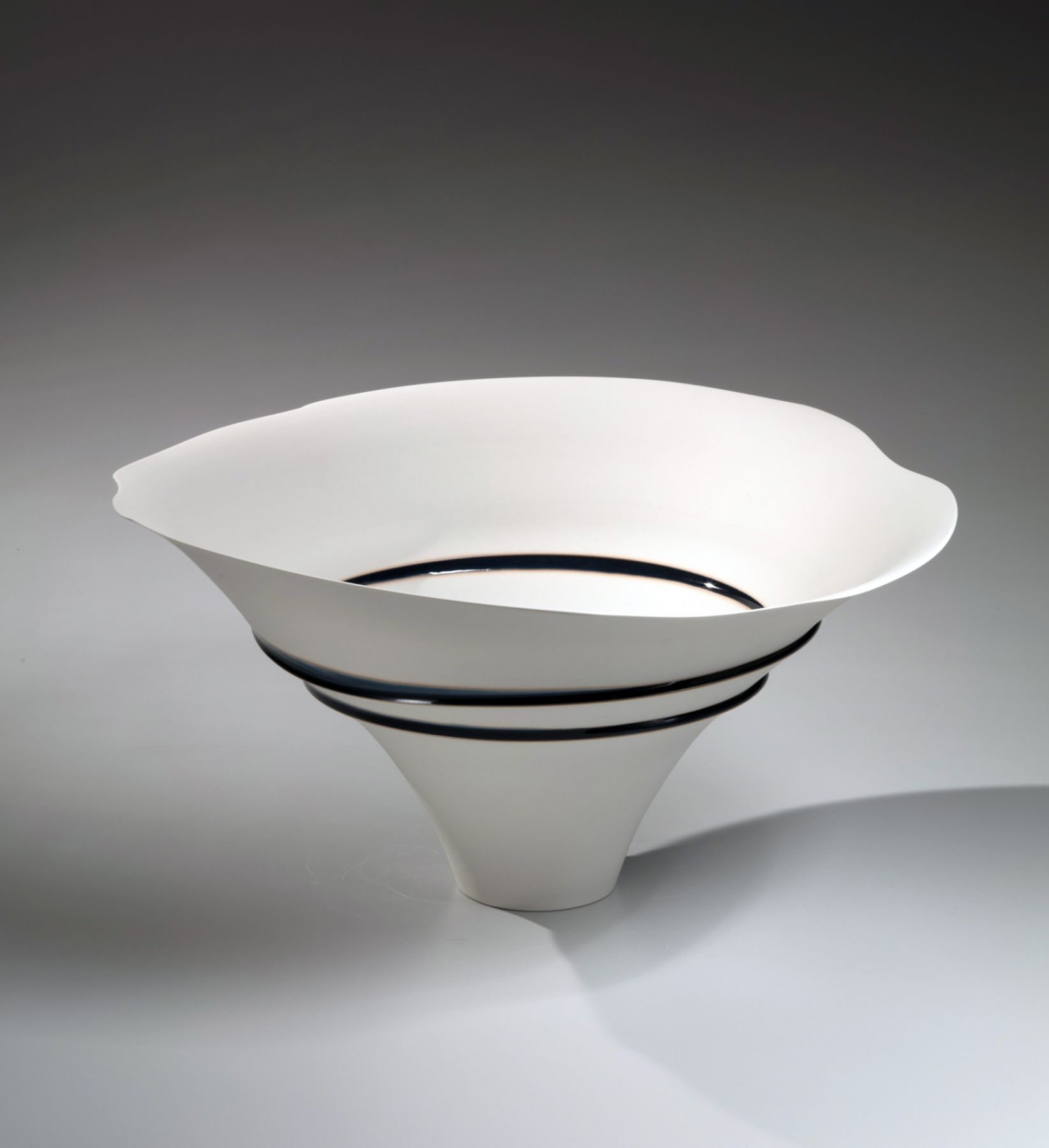 Fukumoto Fuku (b. 1973), Large conical bowl with narrow foot, roughly sliced and re-adhered with blue glaze