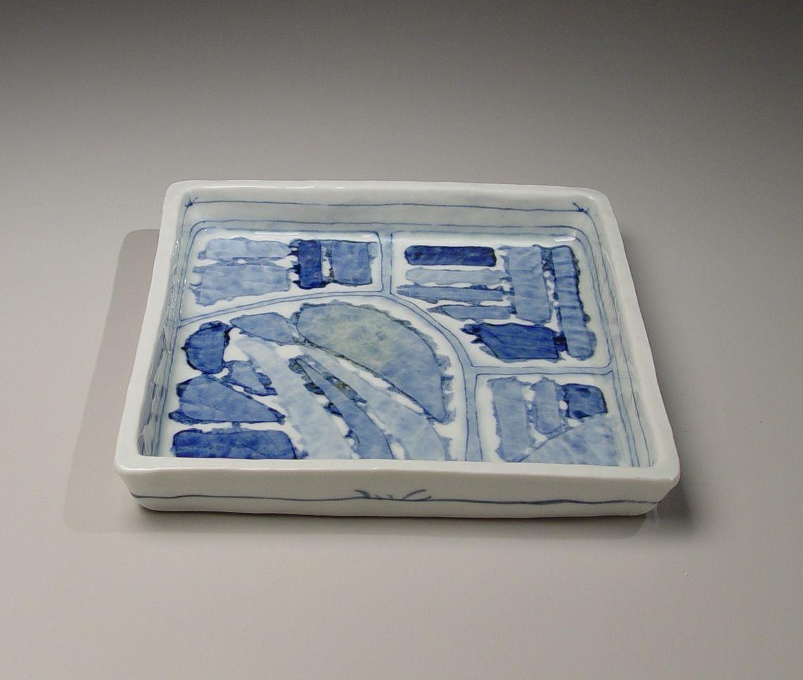 Nagaoka Ami (1946-2013), Square plate with geometric designs