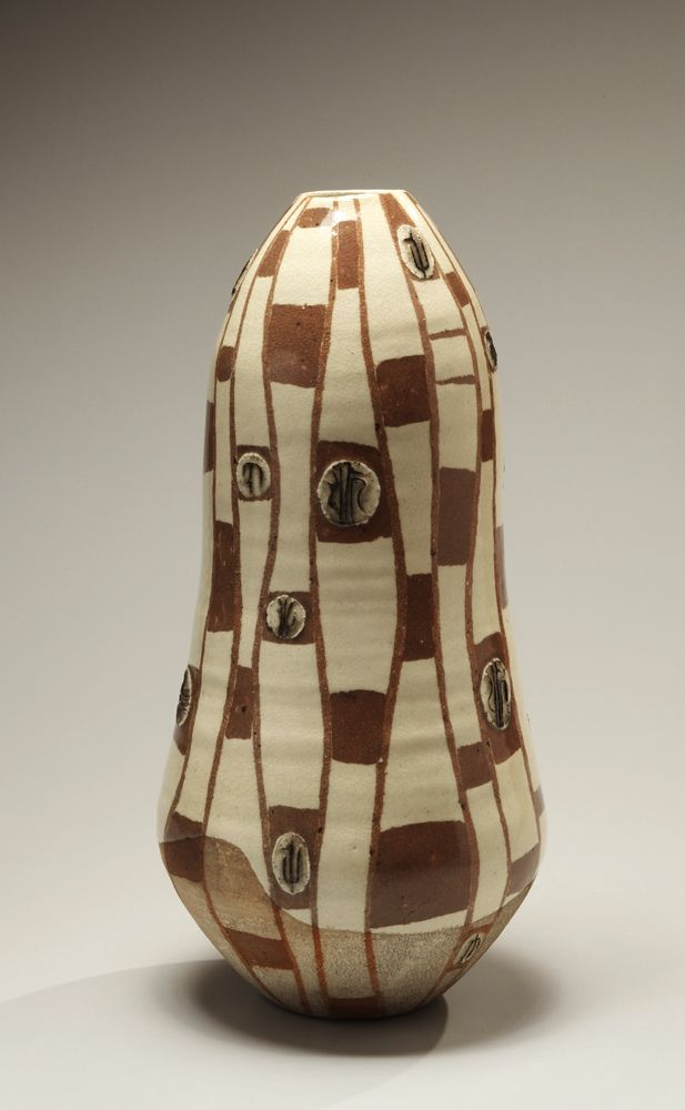 Nakajima Kiyoshi (1907-1986), Gourd-shaped attenuated vase with geometric design