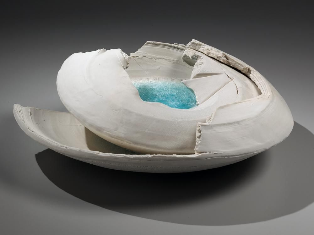 Layered, rounded vessel with pooling blue-green crackled glass in center and torn sectional edges, 2014