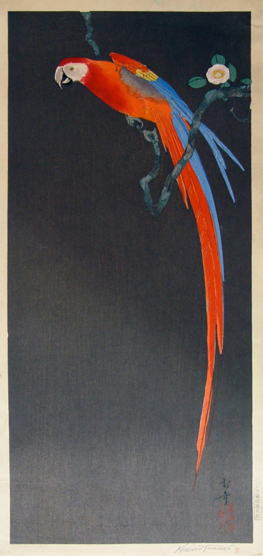 Tsuruoka Kakunen (1892-1977), Parrot on flowering branch