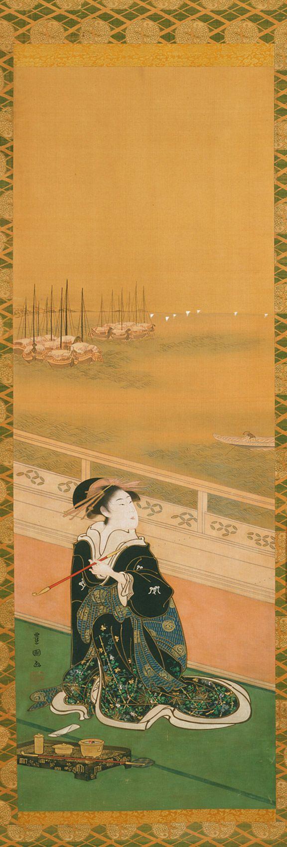 UTAGAWA TOYOKUNI Courtesan smoking a tobacco pipe on a veranda overlooking Shinagawa River