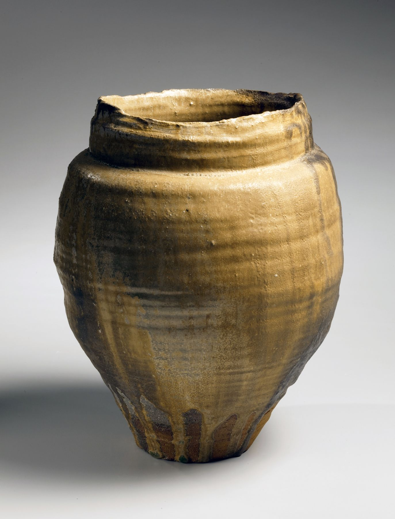 Hori Ichiro, ki-seto-glazed vessel, yellow-glazed stoneware, 2010, Japanese ki-seto, Japanese vessel Japanese teaware, Japanese ceramics, Japanese pottery, Japanese contemporary ceramics