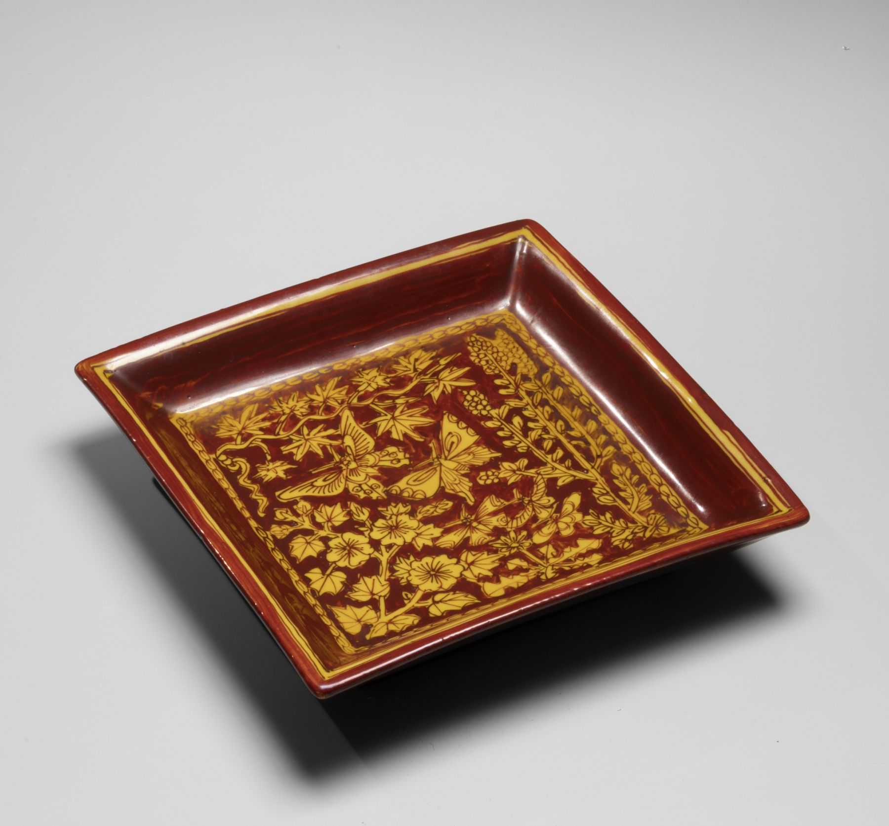 Katō Hajime (1900-1968), Chinese-style square plate with red and yellow glazing