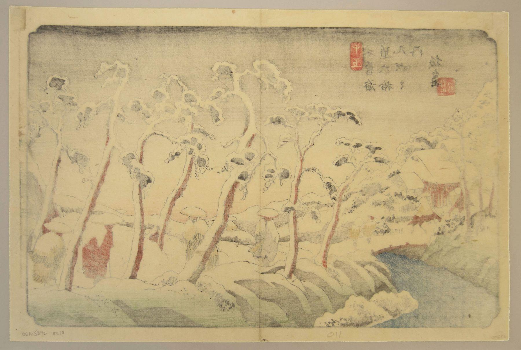 Keisai Eisen (1790-1848), 69 Stations of the Kisokaido Itahana