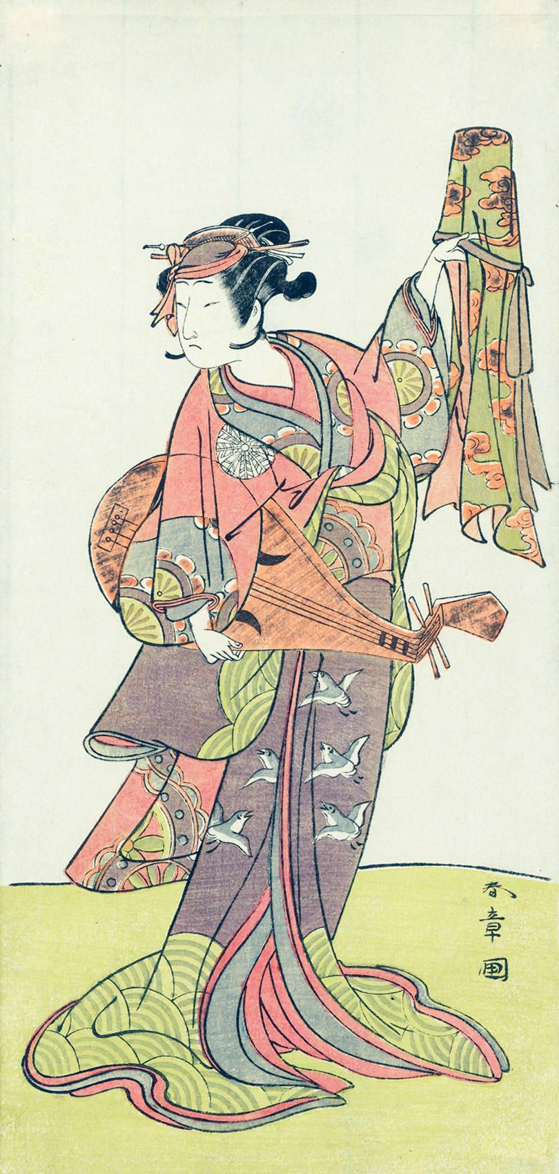 KATSUKAWA SHUNSHÔ The Actor Nakamura Noshio I in a female role holding a biwa