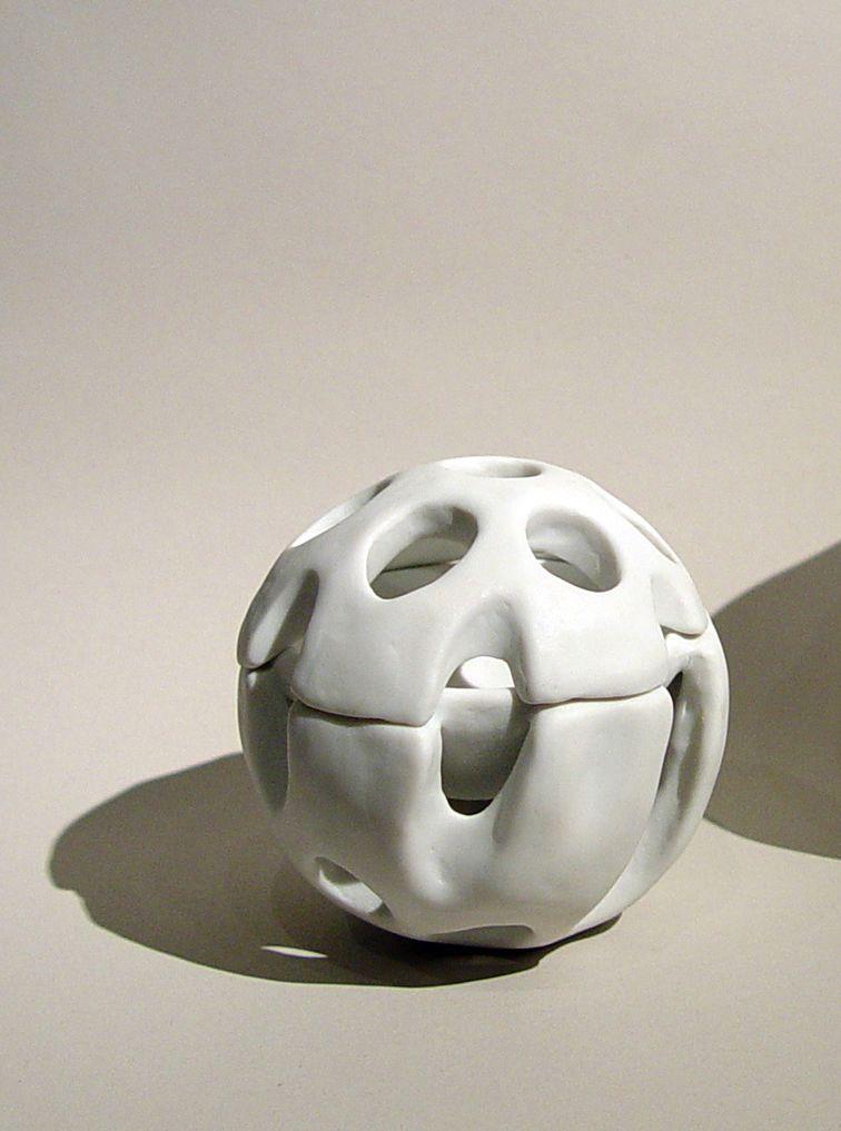 Sakurai Yasuko (b. 1969), Small globular lidded container with skeletal perforations