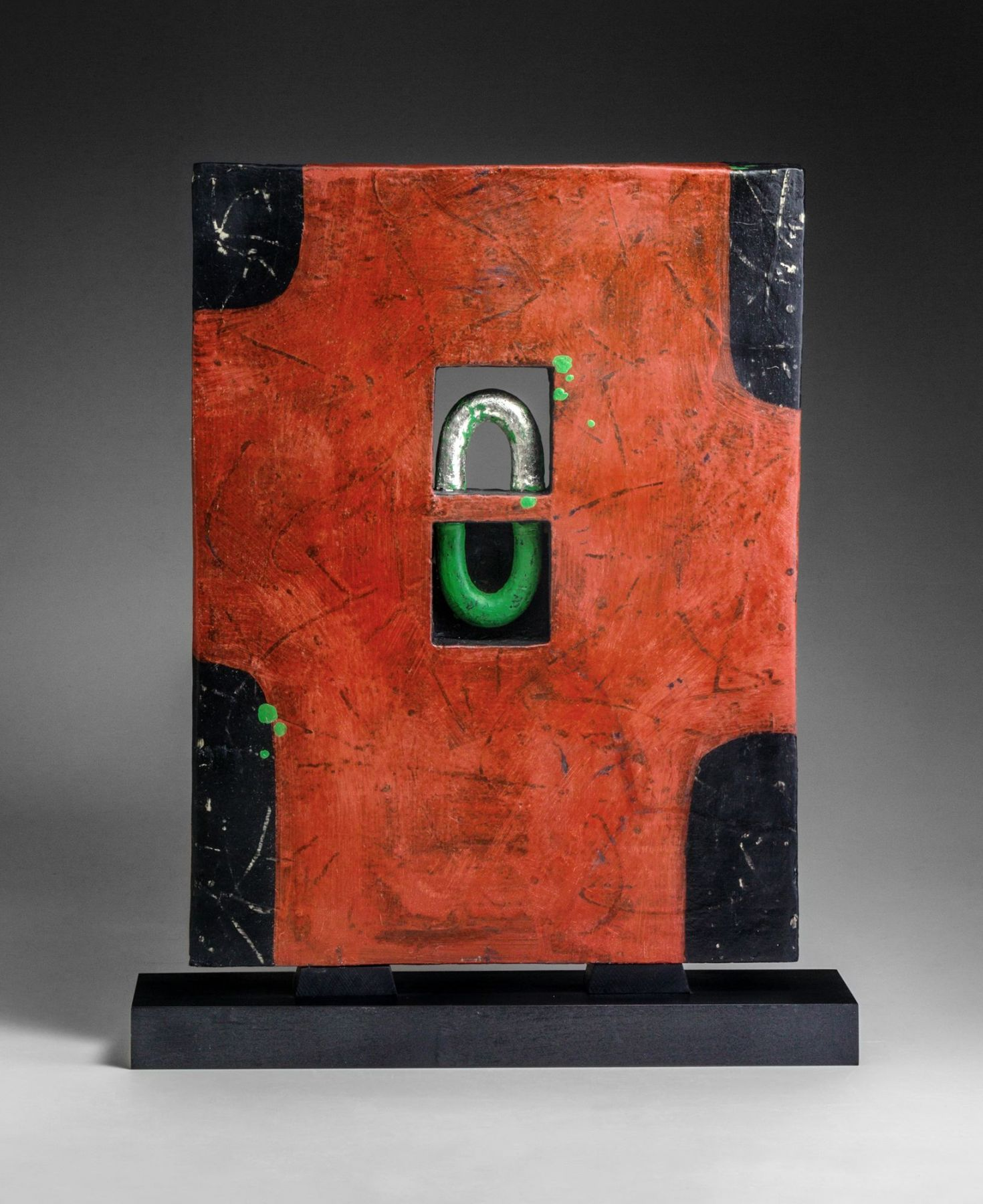 Morino Hiroaki Taimei (b. 1934), WORK 16-12; Rectangular standing textured, red screen-like sculpture with central square perforation inset with curved arches in green and silver and four corners in black