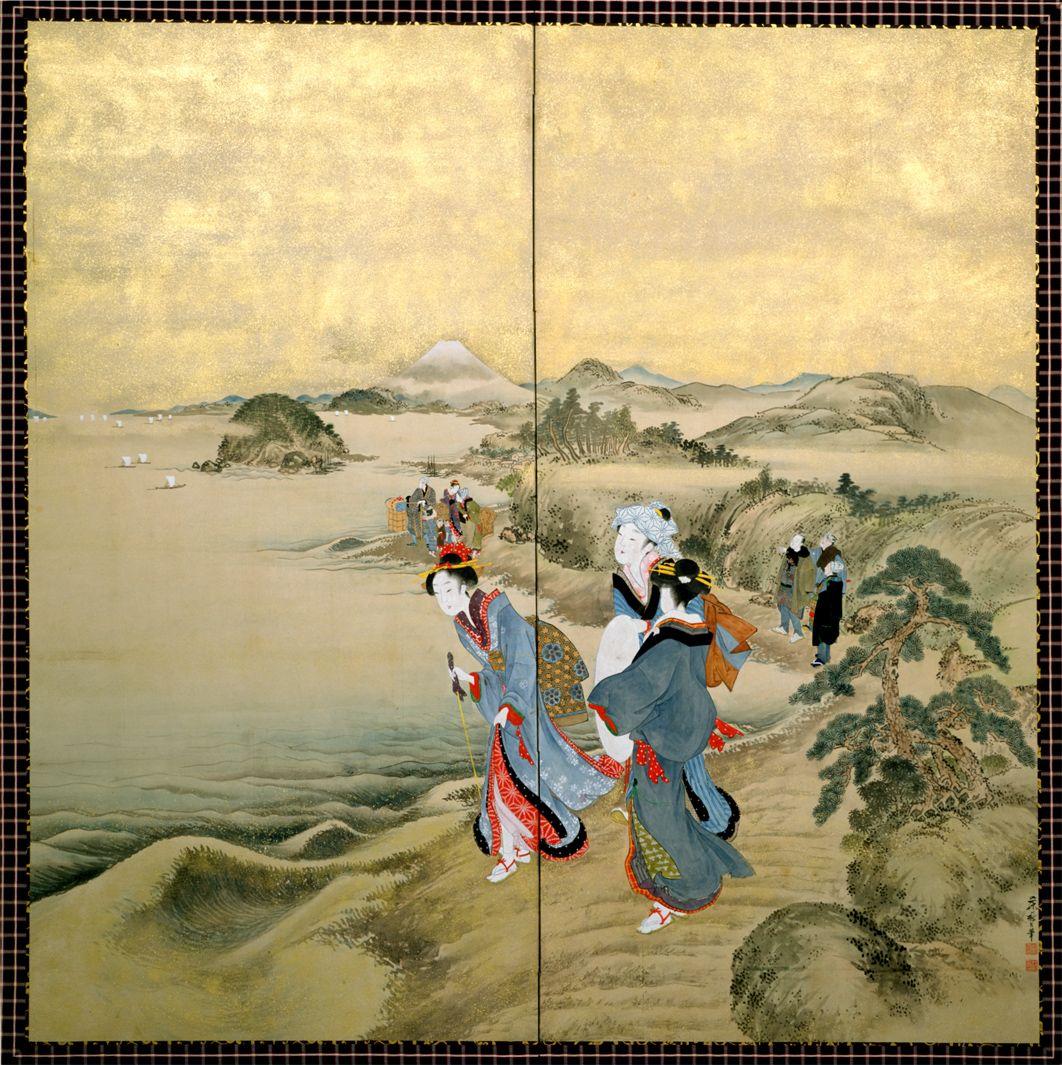 Kitagawa Fujimaro (1790-1850), Travelers at Shichirigahama Beach Enoshima Island as Mount Fuji appears at the distant shore