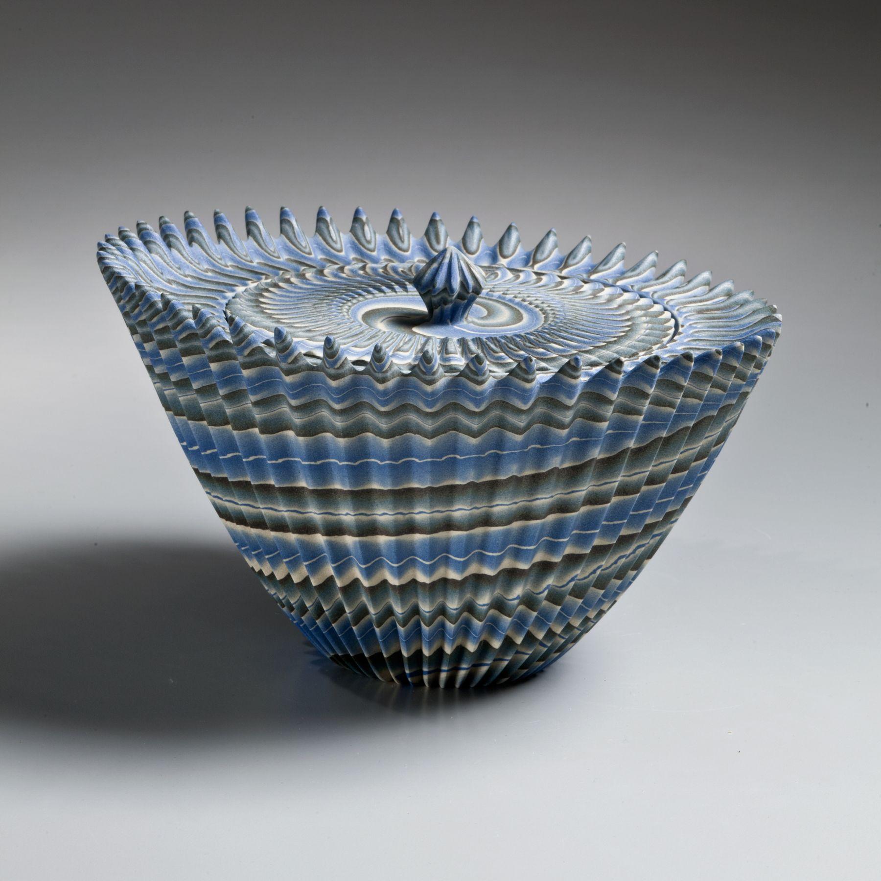 Ogata Kamio, Neriage water jar with upraised mouth, 2015, Marbleized stoneware, Japanese modern, contemporary, ceramics, sculpture