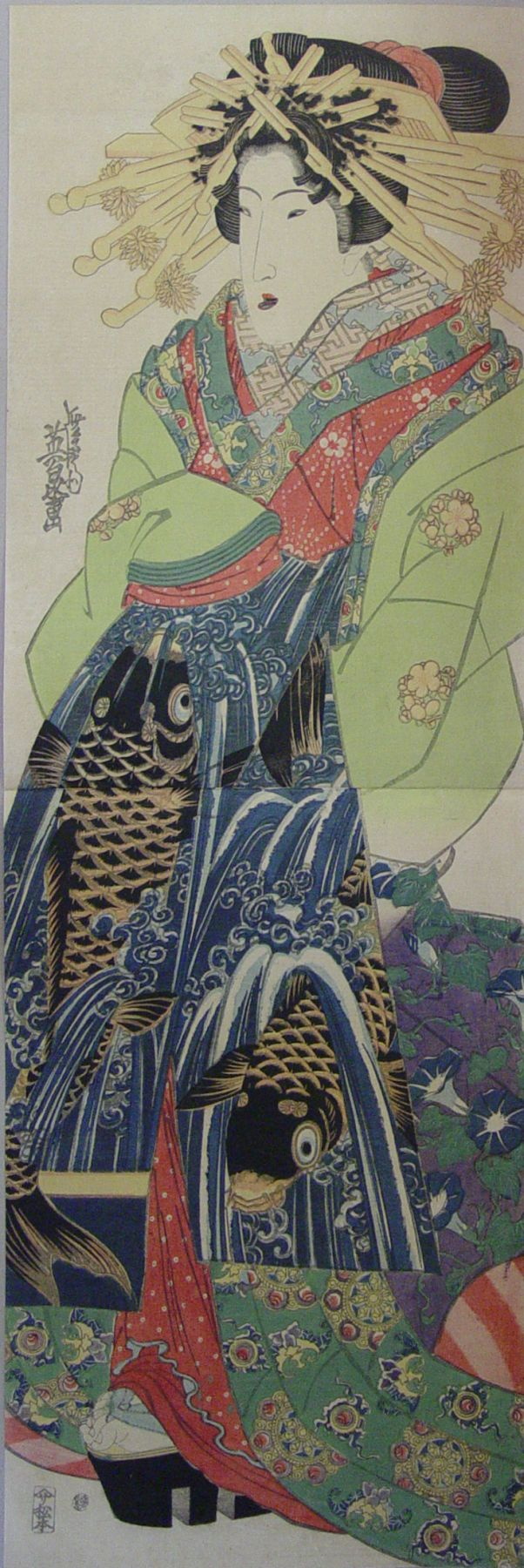 Ikeda Eisen (1790-1848), Standing bijinwith obi of swimming carp motif