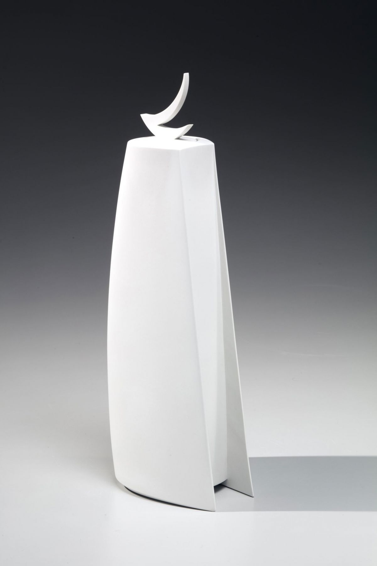 Standing narrow covered sculptural vessel, 2017