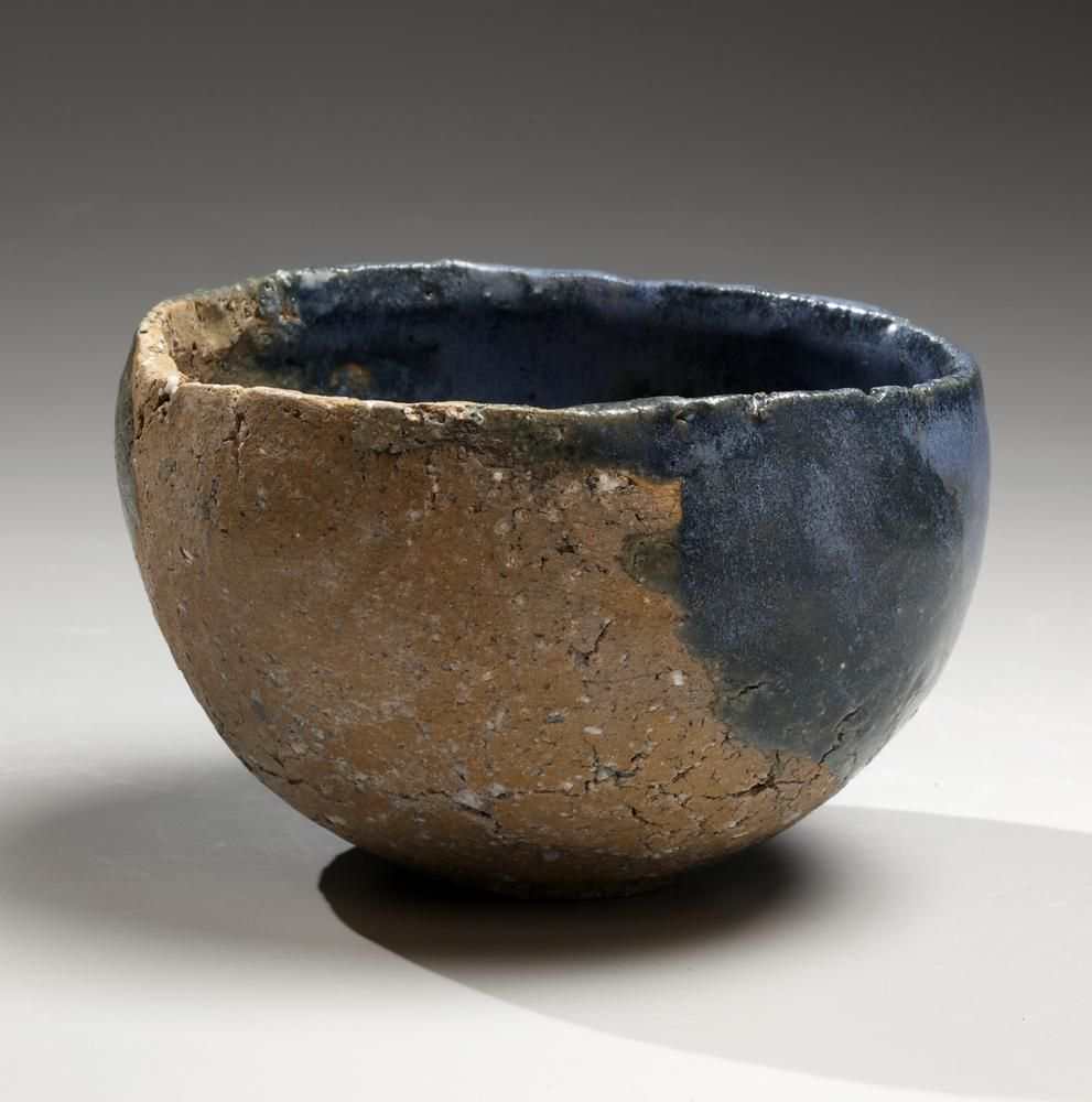 Round teabowl with unctuous greenish-blue ash glaze over cracked clay feldspar-infused body, 2014