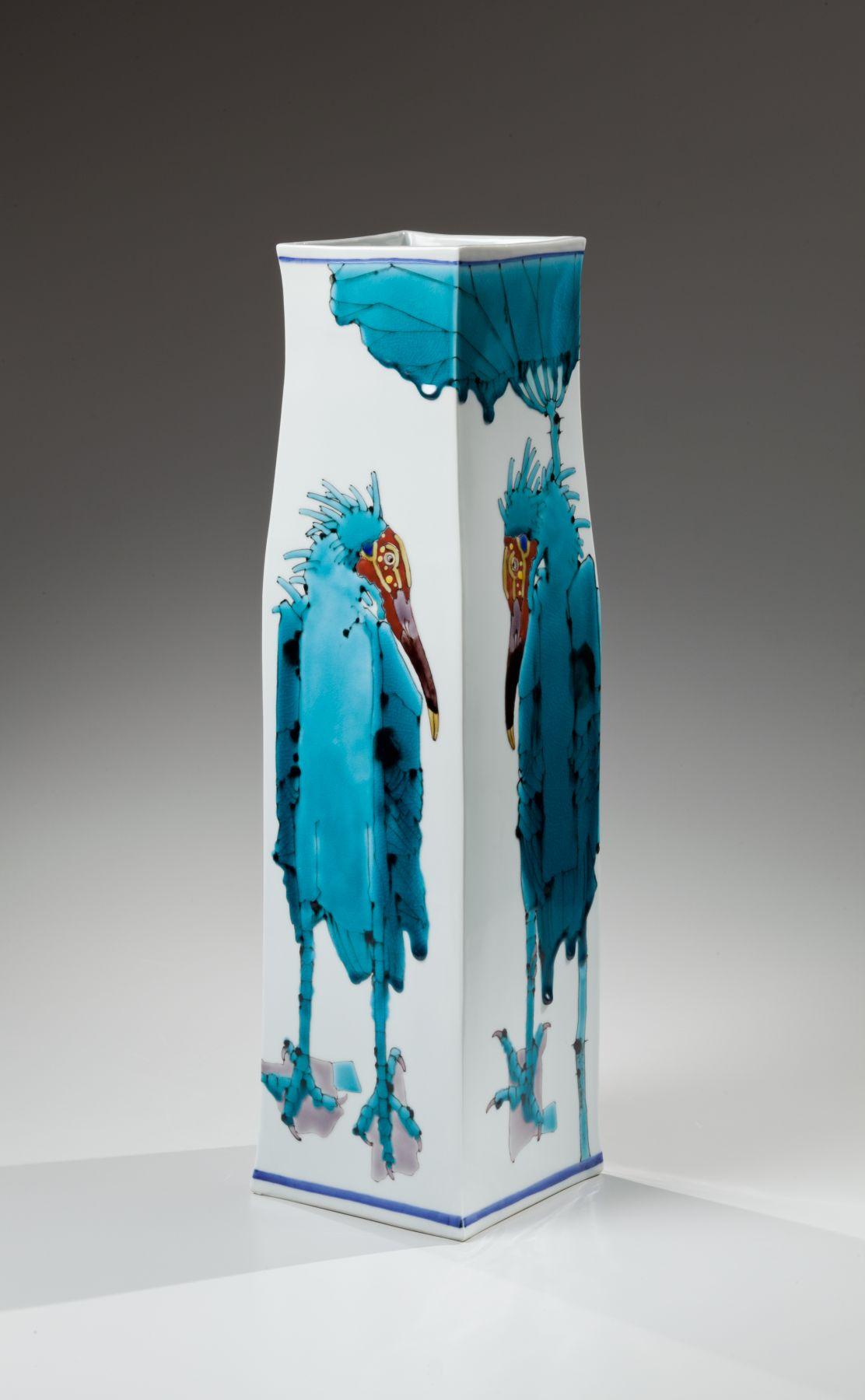 Takegoshi Jun, Japanese glazed porcelain, Japanese kutani-glazed porcelain, Japanese vessel, 2015