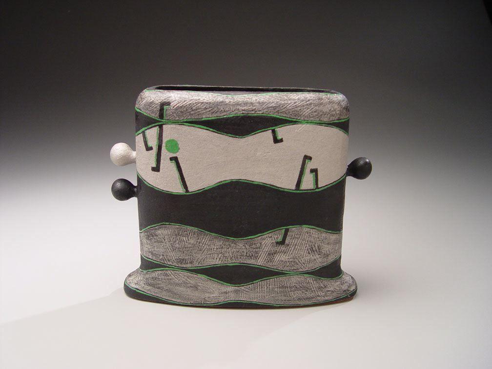 Morino Hiroaki Taimei (b. 1934), Eared vessel with white gold  geometric design: Silver Mountain