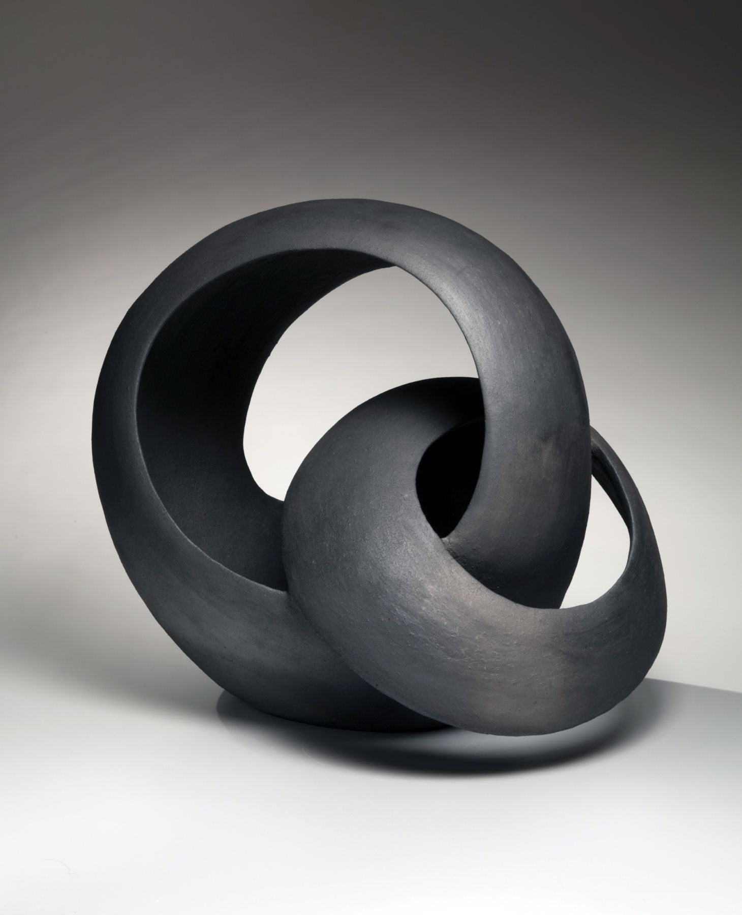 Kurokawa Tōru (b. 1984), Black sculpture of two interlaced rings