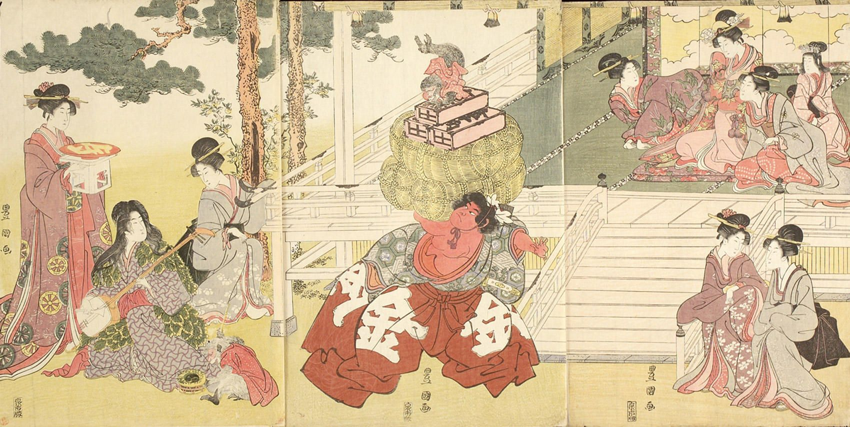 UTAGAWA TOYOKUNI Kintarô showing off his strength before a group of ladies watching the play