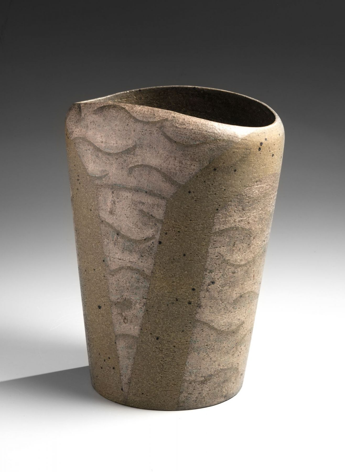 Kuriki Tatsusuke (1943-2013), Conical and rounded vase decorated with abstract patterning in silver and dusty green glaze and dots in black glaze