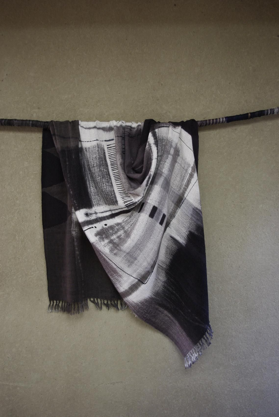 Japanese textile, cotton, hand drawing and dyeing