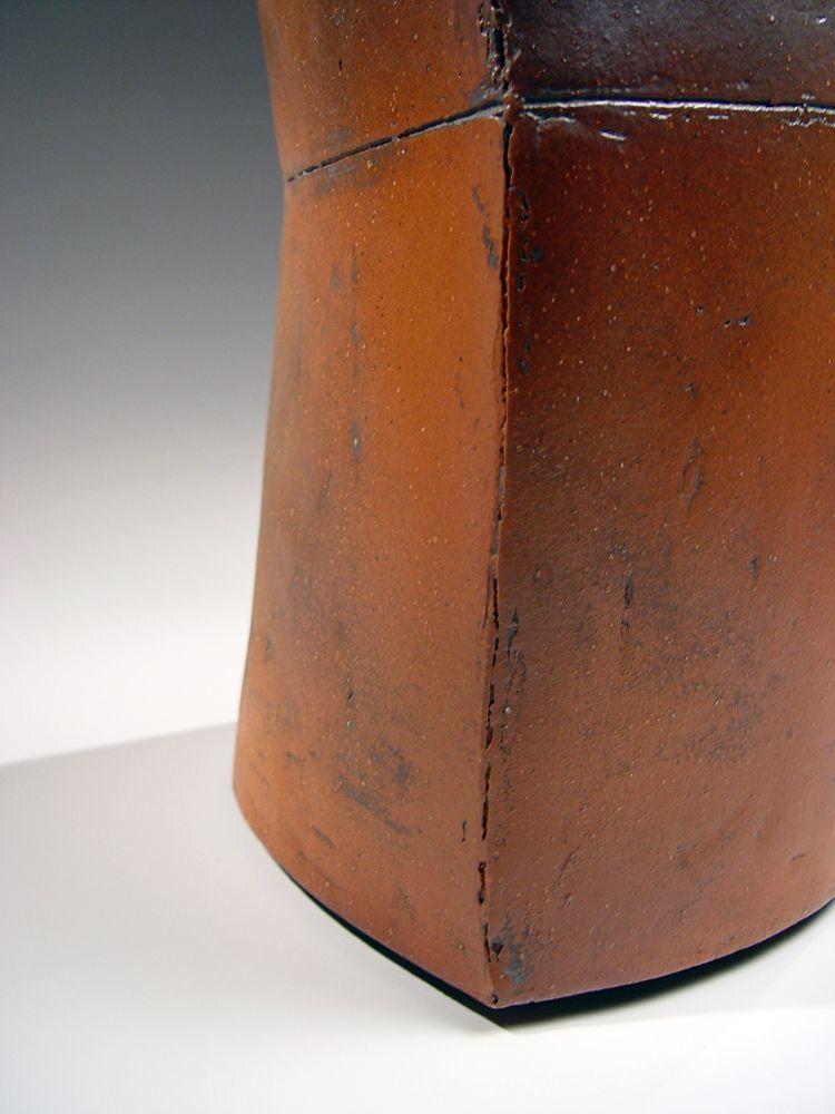Ichino Masahiko (b. 1961), Akadobe-glazed ovoid vase with pointed sides and scored waist