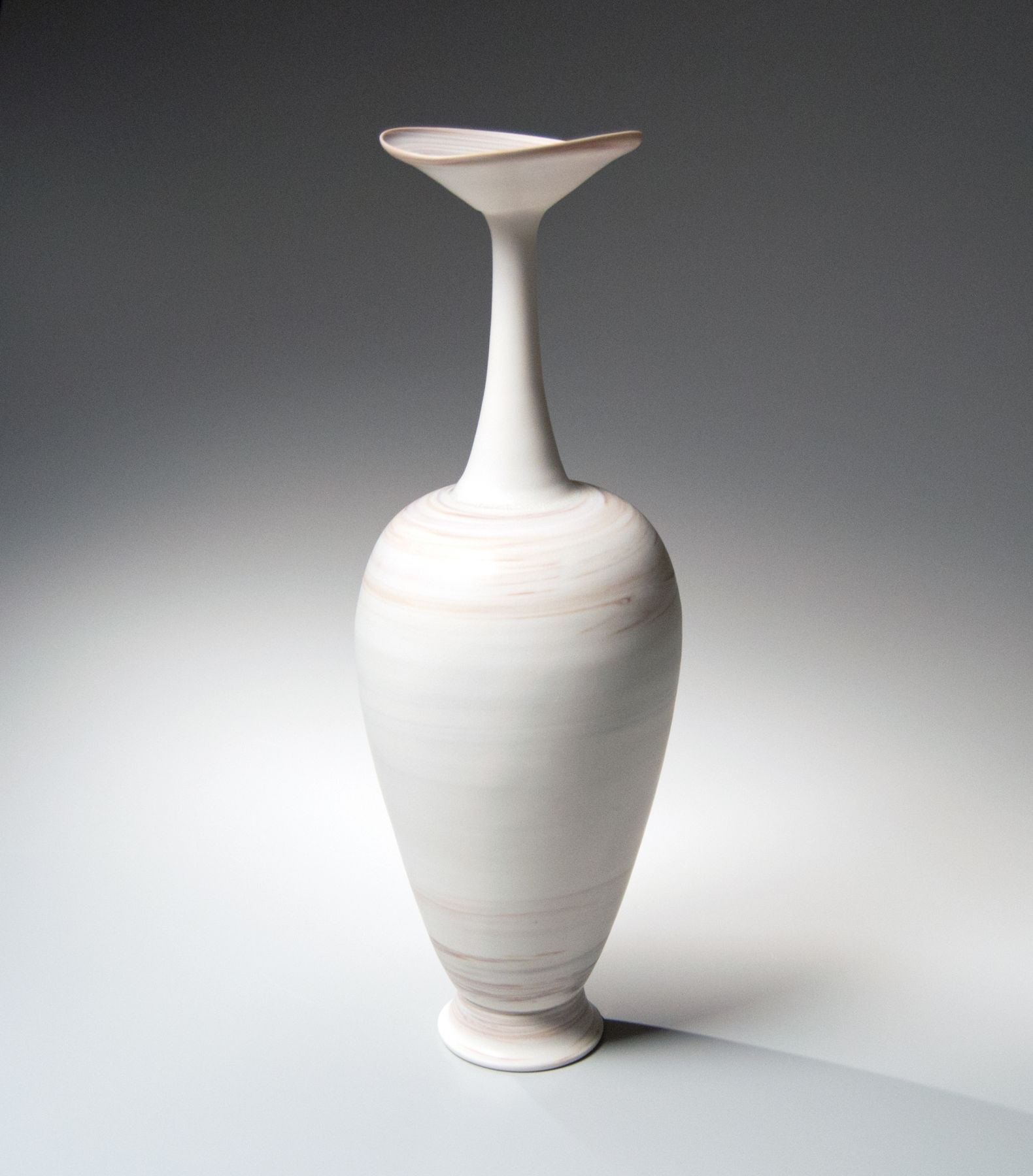 Ito Hidehito, neriage amphora-shpaed bottle, marbleized clay, 2015, marbleized porcelain, Japanese ceramics, Japanese pottery, Japanese bottle, Japanese neriage, Japanese contemporary ceramics, Japanese porcelain