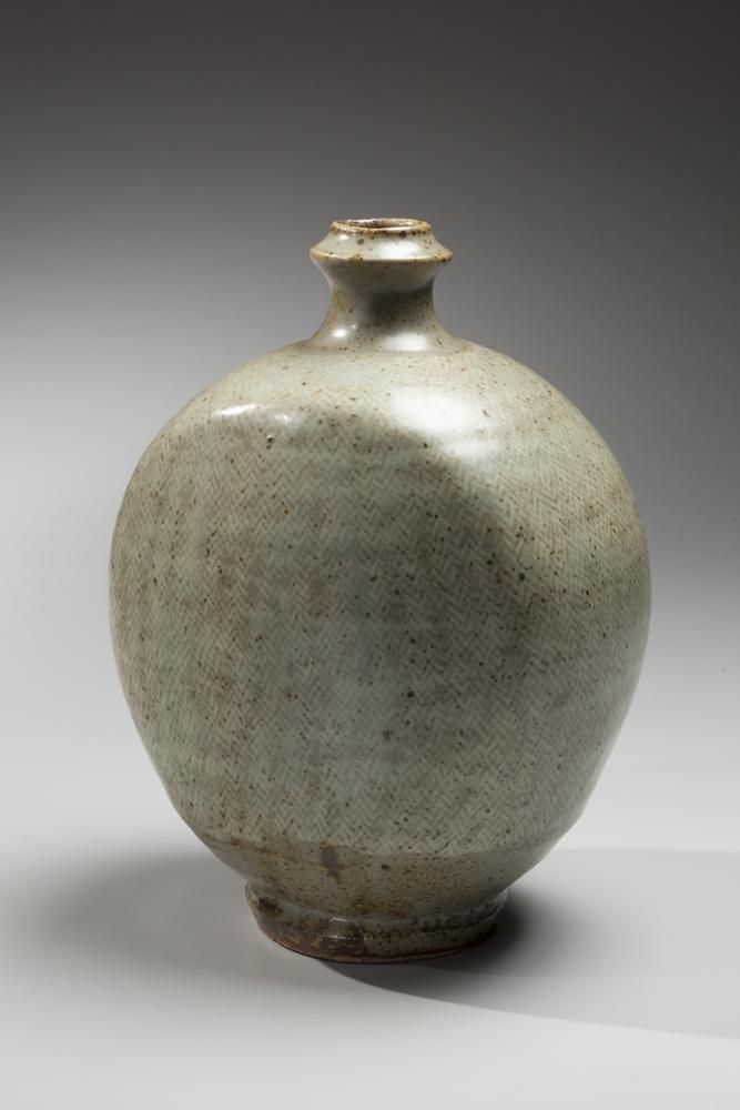 Shimaoka Tatsuzo, Flattened flask with raised mouth 1971, Glazed stoneware, Japanese contemporary ceramics