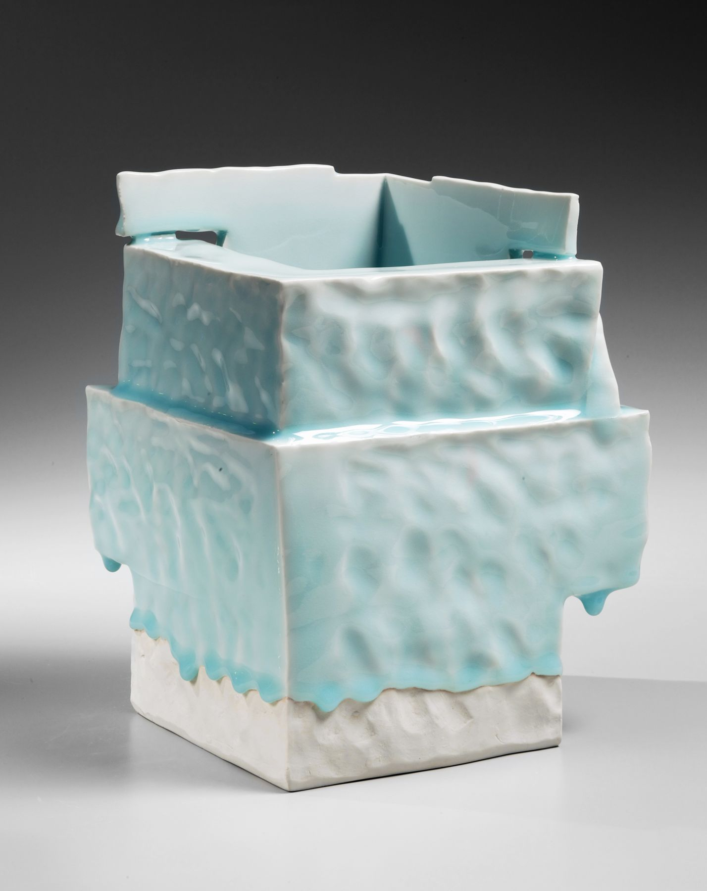 Yoshikawa, Masamichi, Yoshikawa Masamichi, hand-built, cube-shaped, ancient, Chinese, house, sculpture, bluish-white, seihakuji, glaze, 2012, porcelain, contemporary, ceramics, clay, Japanese, Japanese ceramics, Japan, pottery