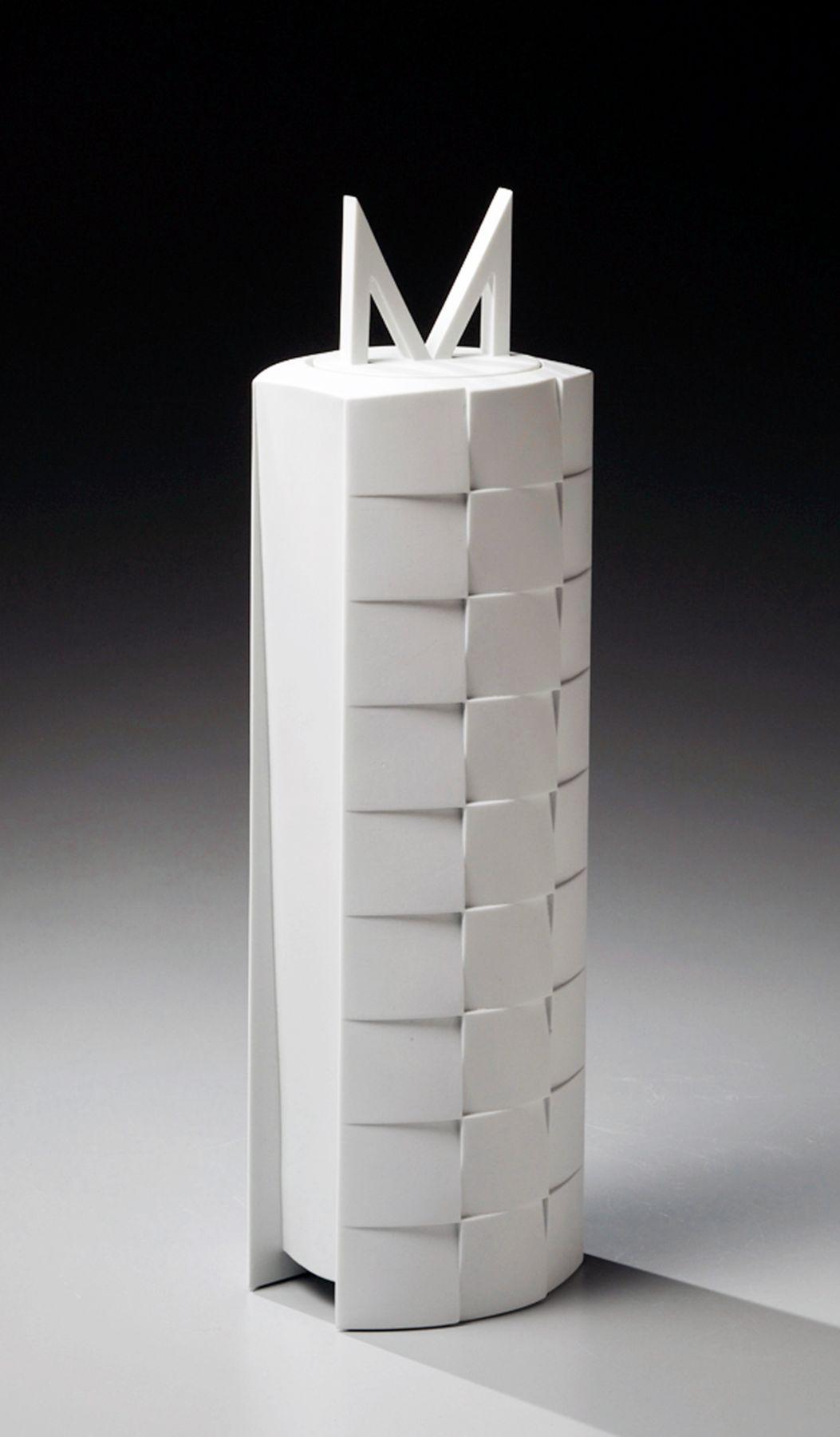 Wada Akira, Japanese glazed porcelain, Japanese covered vessel, ca. 2012