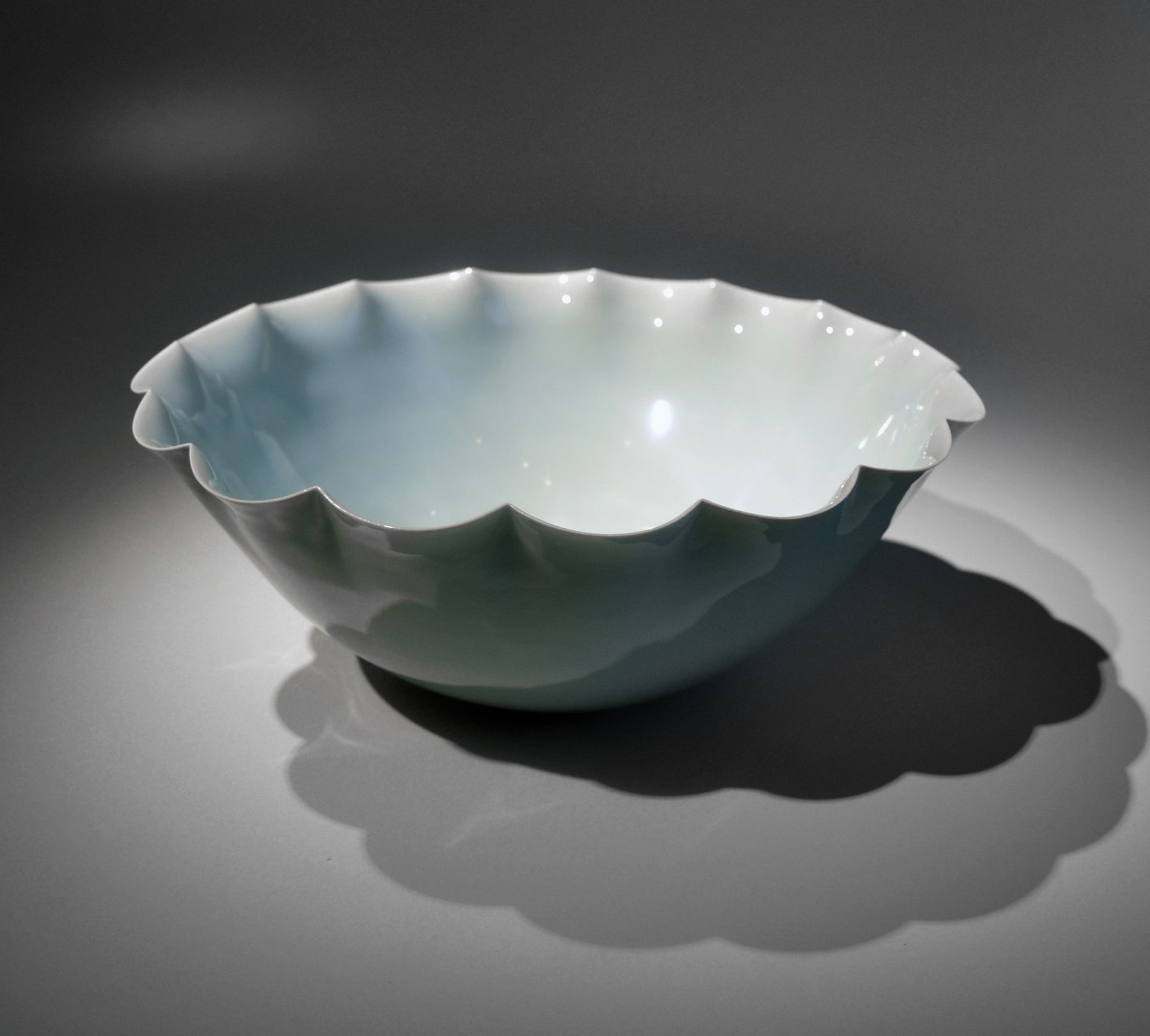 Kawase Shinobu (b. 1950), Large celadon bowl with foliated rim