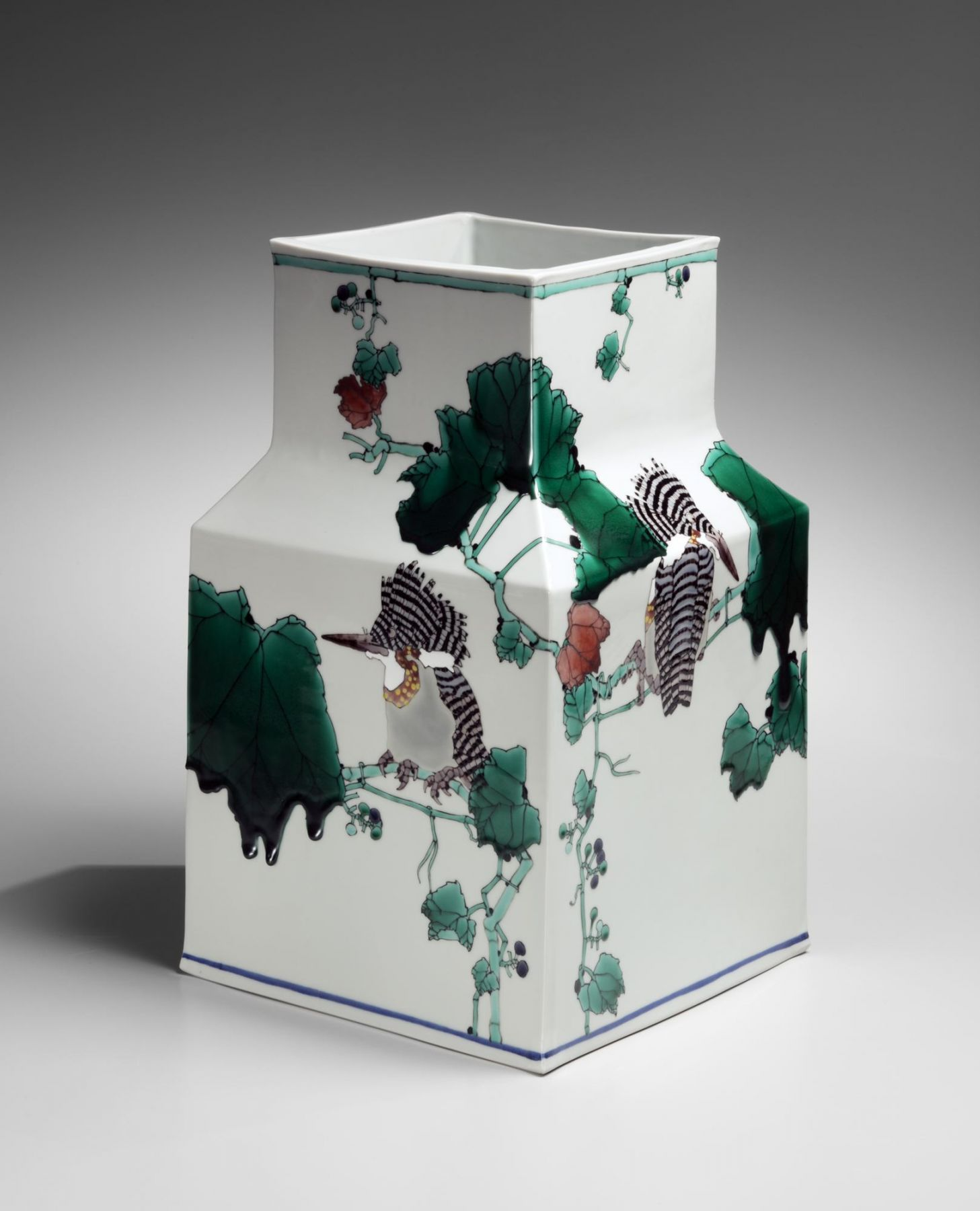 Square vase with tall raised neck, 2016
