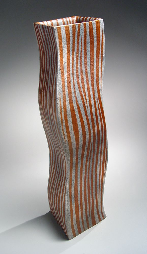 Ichino Masahiko (b. 1961), Large, undulating columnar vessel with red and orange striped patterning