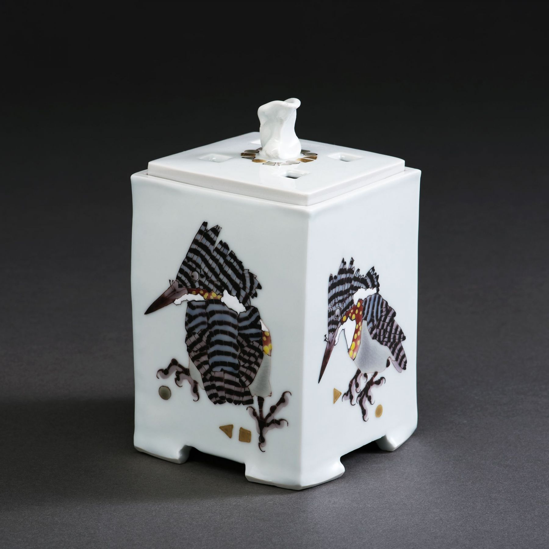 Square incense burner with matching perforated cover depicting four greater pied kingfishers on each side, 2017