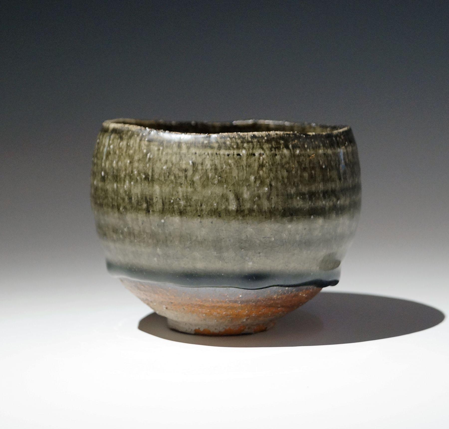 Fujihira, Shin, Fujihira Shin, rounded, teabowl, pooling, dark, green, brown, ash, glaze, dripping, stoneware, 2010, clay, ceramics, contemporary, Japanese, Japan, Japanese ceramics, chawan