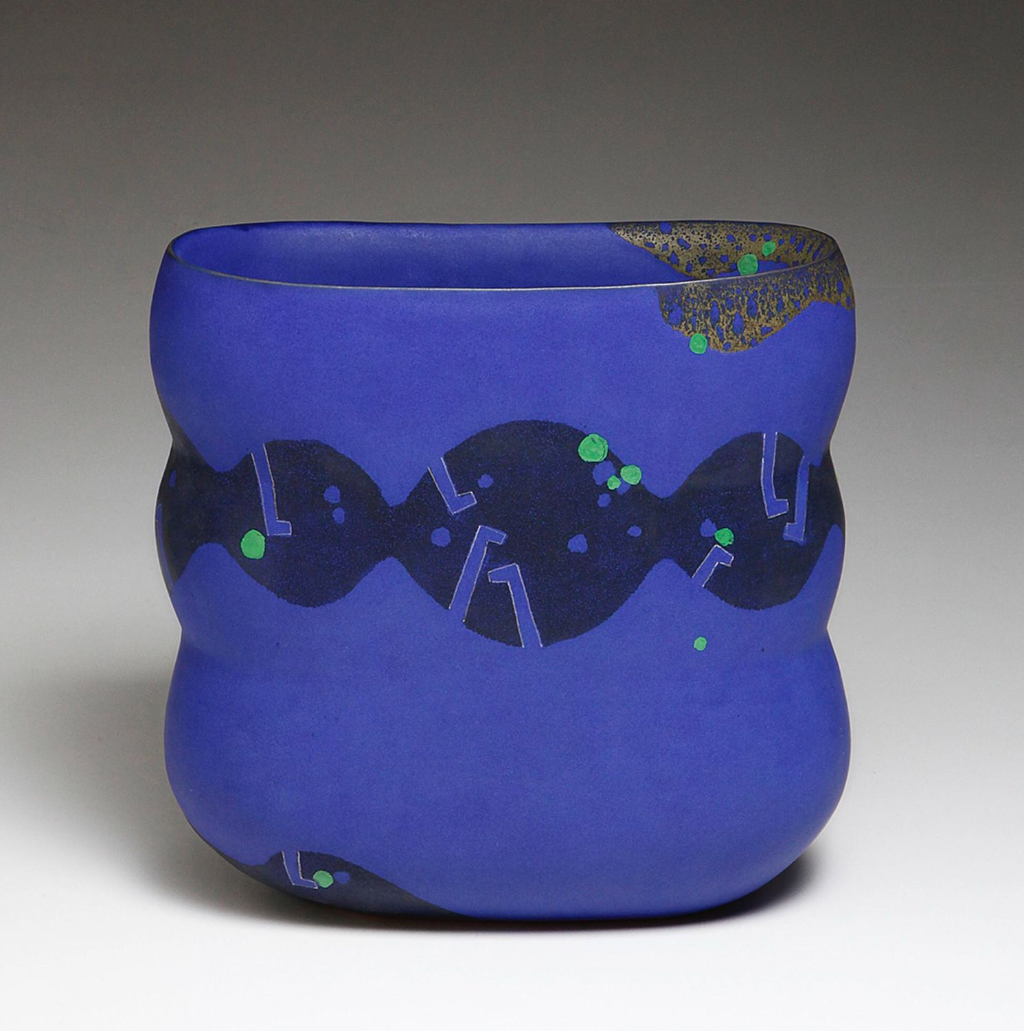 WORK 16-4; Triple lobed, slightly flattened sculptural vase, decorated with a band of circles with key patterning in rich blue over black with dots in green chartreuse, 2016
