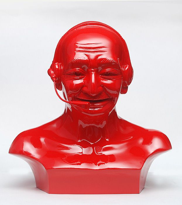 Debanjan Roy  India Shining 11 (Gandhi bust with headphones), 2009  Fiberglass and automotive paint  13h x 13w x 8d in
