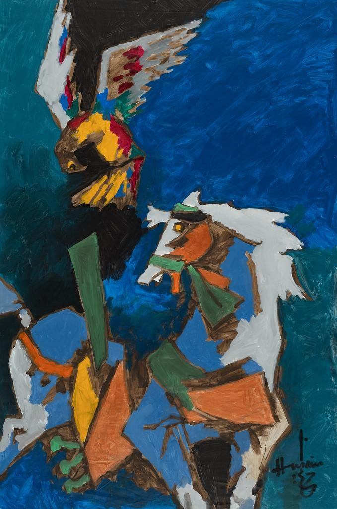 M. F. Husain   Untitled (horse and falcon)  Acrylic on canvas  72 x 47.75 in