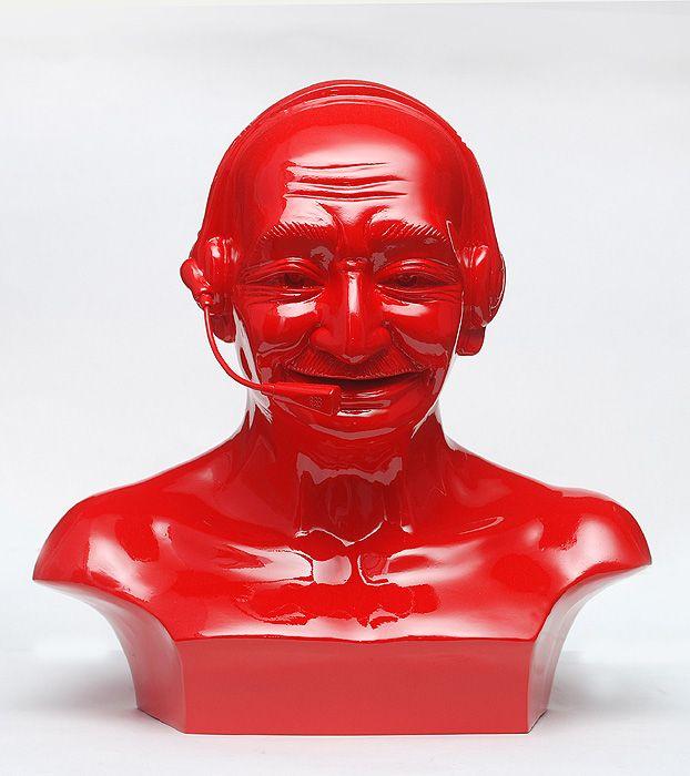 Debanjan Roy  India Shining 11 (Gandhi bust with headphones)  2009  Fiberglass and automotive paint  13 x 13 x 8 in