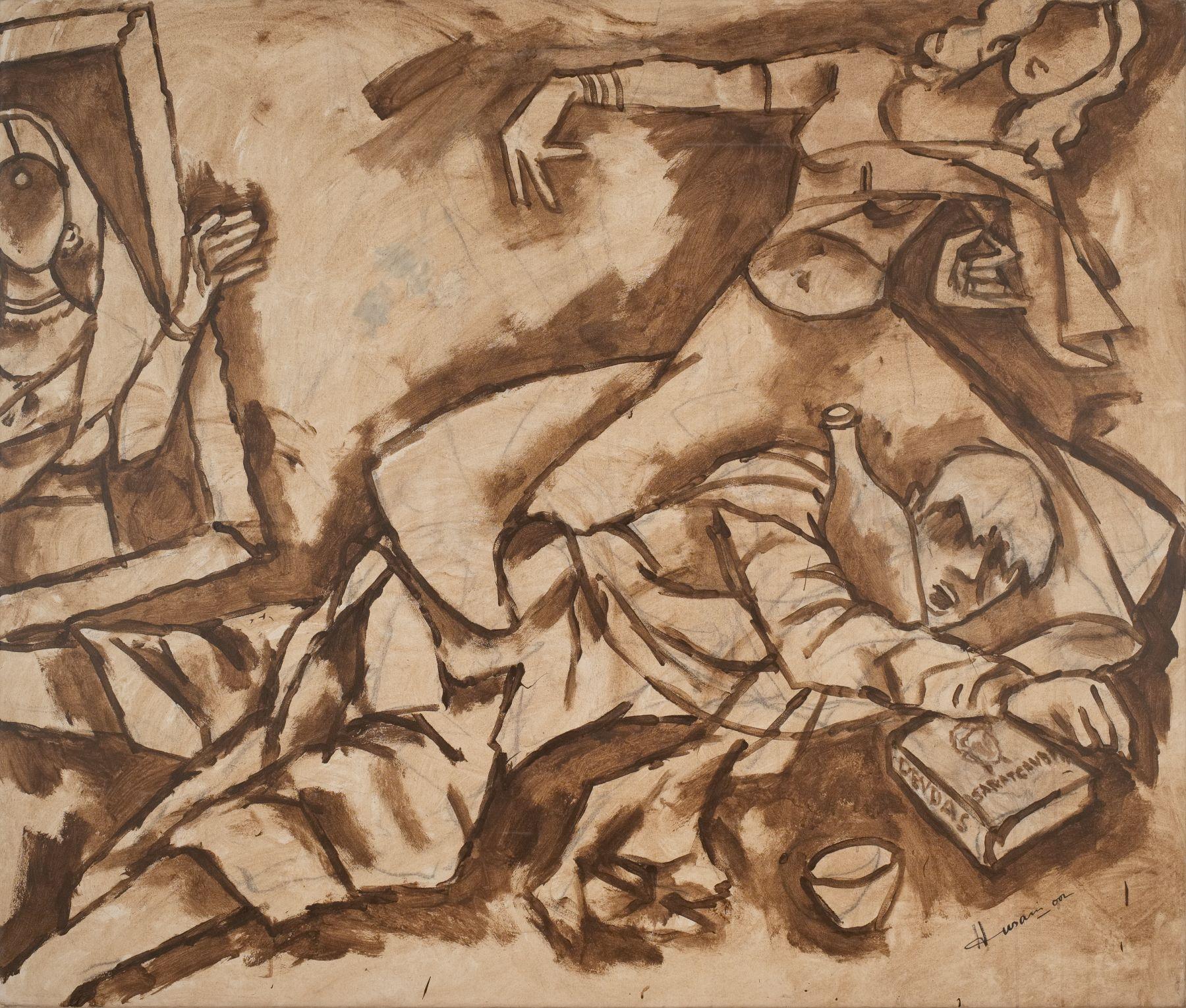 M. F. Husain   Devdas  2002  Acrylic on canvas  60 x 70 in