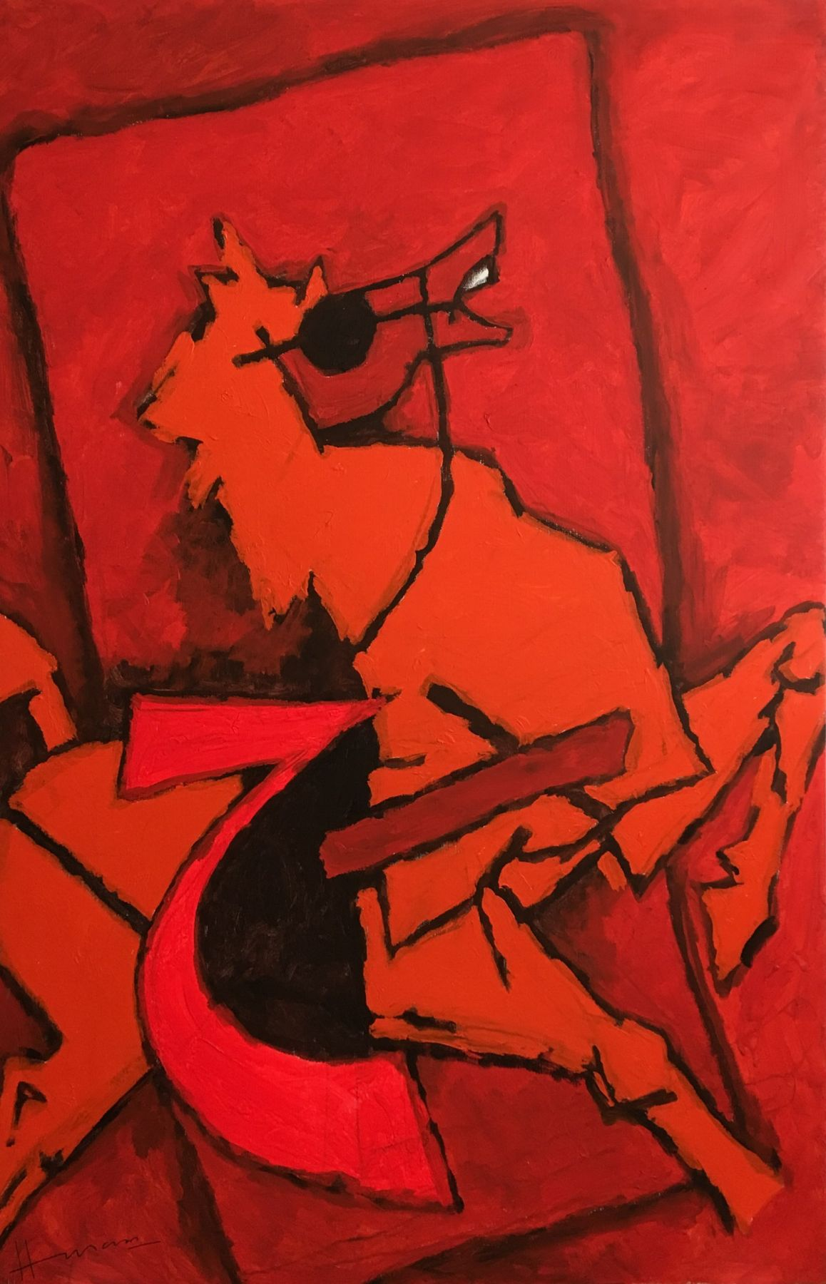 M. F. Husain   Untitled (red horse)  Acrylic on canvas  72 x 47.75 in