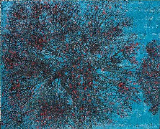 G. R. Iranna  Witness  2015  Acrylic on tarpaulin  54 x 66 in