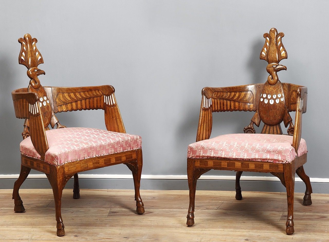 A Pair Of Egyptian Revival Chairs, Berlin Circa 1850