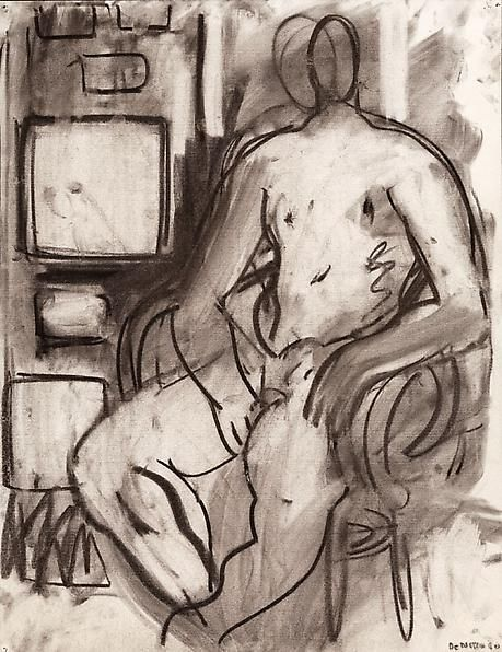 Seated Male Nude with Studio Pictures, 1980
