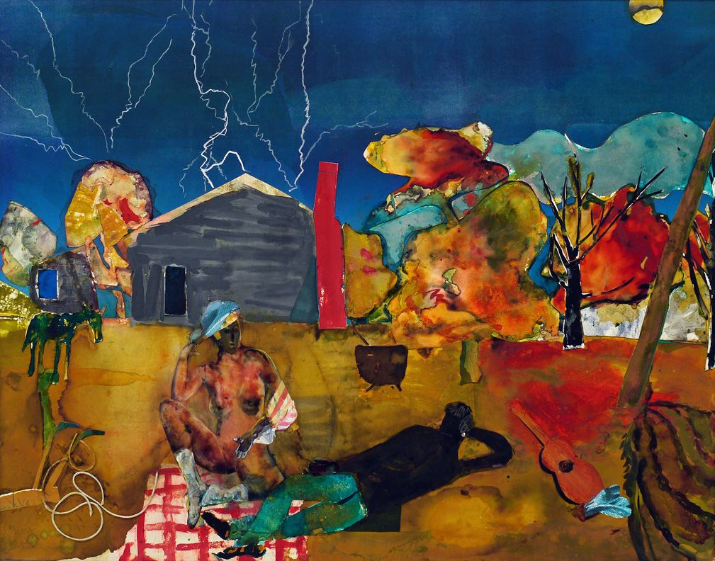 Mecklenburg Autumn: Heat Lightning Eastward, 1983, Collage and oil on fiberboard