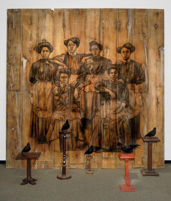 Servilis, 2006, Conte on wood, pedestals, stuffed bird replicas
